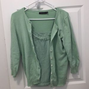Sea foam green cardigan with matching camisole